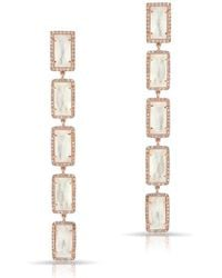 Anne Sisteron - 14kt Rose Gold Mother Of Pearl Diamond Five Rectangle Drops Shandi Earrings - Lyst