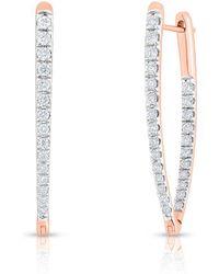 Anne Sisteron - 14kt Rose Gold Diamond Luxe Drop Wishbone Earrings - Lyst