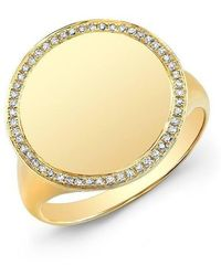Anne Sisteron | 14kt Yellow Gold Diamond Solid Circle Ring | Lyst