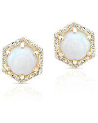 Anne Sisteron - 14kt Yellow Gold White Opal Diamond Hexagon Stud Earrings - Lyst