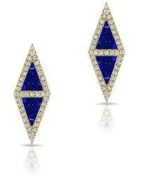 Anne Sisteron - 14kt Yellow Gold Lapis Diamond Double Triangle Stud Earrings - Lyst