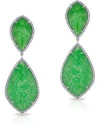 Anne Sisteron - 14kt White Gold Diamond Jade Earrings - Lyst