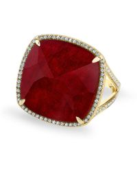 Anne Sisteron - 14kt Yellow Gold Diamond Ruby Cushion Cut Cocktail Ring - Lyst