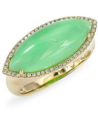 Anne Sisteron - 14kt Yellow Gold Diamond Chrysoprase Marquis Ring - Lyst