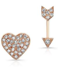 Anne Sisteron - 14kt Rose Gold Diamond Cupid Earrings - Lyst