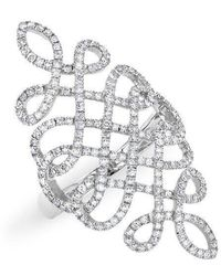 Anne Sisteron - 14kt White Gold Diamond Woven Lace Ring - Lyst