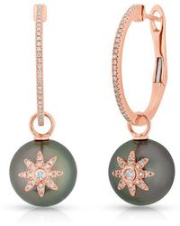 Anne Sisteron - 14kt Rose Gold Diamond Pearl And Star Earrings - Lyst