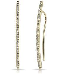 Anne Sisteron - 14kt Yellow Gold Diamond Mini Wishbone Earrings - Lyst