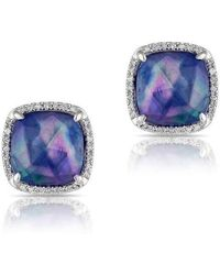 Anne Sisteron - 14kt White Gold Shimmer Lapis Cushion Diamond Earrings - Lyst