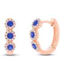 Anne Sisteron - 14kt Rose Gold Sapphire Diamond Mila Huggie Earrings - Lyst
