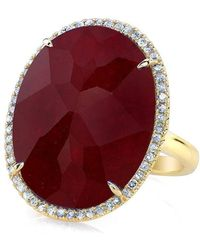 Anne Sisteron - 14kt Yellow Gold Ruby Diamond Oval Cocktail Ring - Lyst
