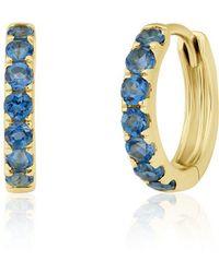 Anne Sisteron - 14kt Yellow Gold Blue Topaz Huggies - Lyst