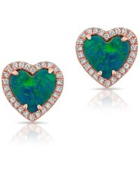 Anne Sisteron - 14kt Rose Gold Opal Diamond Heart Stud Earrings - Lyst