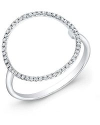 Anne Sisteron - 14kt White Gold Diamond Open Circle Diamond Ring - Lyst