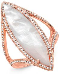Anne Sisteron - 14kt Rose Gold Mother Of Pearl Diamond Celeste Ring - Lyst
