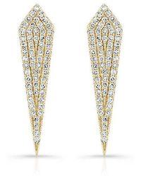 Anne Sisteron - 14kt Yellow Gold Diamond Mini Spear Earrings - Lyst