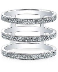 Anne Sisteron - 14kt White Gold Diamond Triple Bar Ring - Lyst