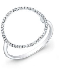 Anne Sisteron - 14kt White Gold Diamond Open Circle Diamond Ring - Lyst