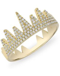 Anne Sisteron - 14kt Yellow Gold Diamond Crown Ring - Lyst