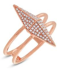 Anne Sisteron - 14kt Rose Gold Diamond Pave Pyramid Ring - Lyst