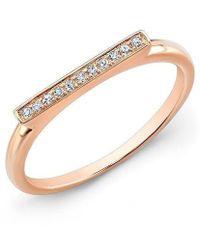 Anne Sisteron - 14kt Rose Gold Diamond Long Bar Ring - Lyst
