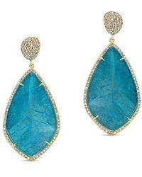 Anne Sisteron - 14kt Yellow Gold Blue Apatite Diamond Leaf Shape Earrings - Lyst