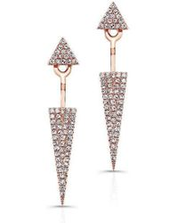 Anne Sisteron - 14kt Rose Gold Diamond Double Triangle Floating Earrings - Lyst