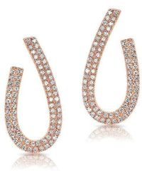 Anne Sisteron | 14kt Rose Gold Diamond Curve Earrings | Lyst
