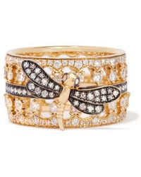 Annoushka Dragonfly Crown Ring Stack In 18ct Yellow Gold - Metallic