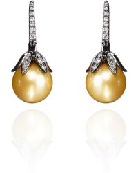 Annoushka | 18ct White Gold South Sea Golden Pearl Small Earrings | Lyst