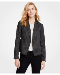 Ann Taylor - Petite Sketched Plaid One Button Jacket - Lyst