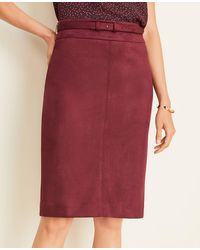 Ann Taylor - Tall Faux Suede Belted Pencil Skirt - Lyst