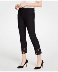 Ann Taylor - The Petite Ankle Pant With Lace Hem - Lyst