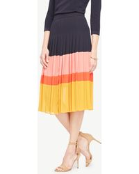 Ann Taylor | Pleated Block Print Skirt | Lyst