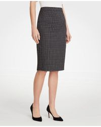 Ann Taylor - Sketched Plaid Pencil Skirt - Lyst