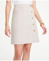 53d1d64ce Ann Taylor - Curvy Button Textured A-line Skirt - Lyst