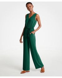Ann Taylor - Petite Rope Belt V-neck Jumpsuit - Lyst