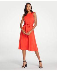2443edbbb76b Ann Taylor - Matte Jersey Tie Front Midi Dress - Lyst