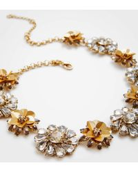 Ann Taylor - Sequin Floral Crystal Necklace - Lyst