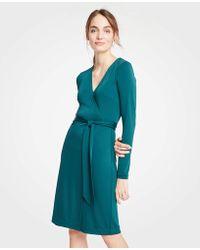 a6da15385ac Lyst - Ann Taylor Petite Striped 3 4 Sleeve Dress in Red