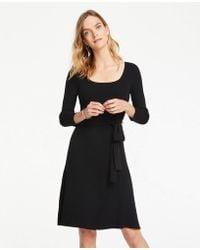 c4dac2c1b66f Lyst - Ann Taylor Petite Colorblock Mock Neck Sweater Dress in Black