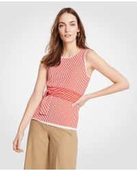 Ann Taylor - Stripe Tie Waist Sweater Shell - Lyst