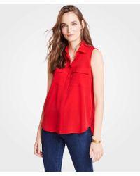 c0eb6ae3f1196c Lyst - Ann Taylor Petite Silk Camp Shirt in Red