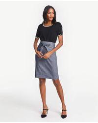 b6616a034a Ann Taylor - Chambray Tie Waist Pencil Skirt - Lyst