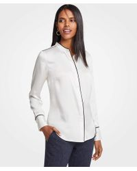Ann Taylor - Piped Covered Button Down Blouse - Lyst