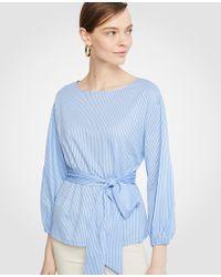 Ann Taylor - Stripe Belted Blouson Sleeve Top - Lyst