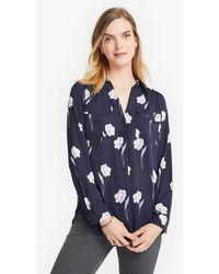 daf501d4cb5e84 Lyst - Ann Taylor Petite Silk Cotton Button Down Camp Shirt in Blue