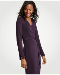 Ann Taylor - Button Cuff Wrap Dress - Lyst