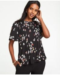 Ann Taylor - Petite Meadow Floral Pleated Top - Lyst