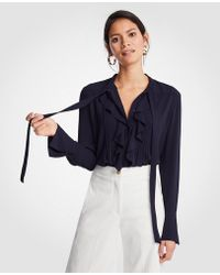 Ann Taylor | Tie Neck Ruffle Blouse | Lyst